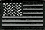 Tactical Velcro Reflective Black & White US Flag Patch