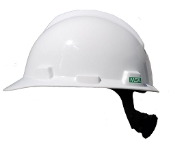 Big Size MSA V-Gard White Hard Hat Ratchet Suspension