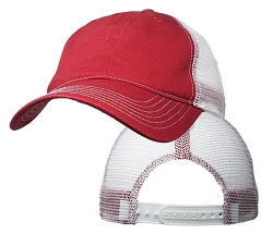 Big Size Red/White Low Profile Mesh Cap