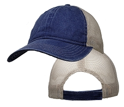 Big Size Vintage Navy/Tan Low Profile Mesh Cap