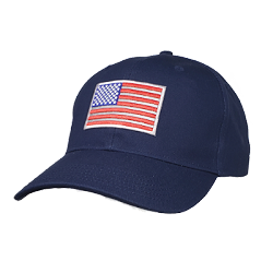 Big Size Navy Adjustable Cap with Reflective Flag Emblem