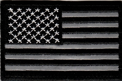 Reflective Black and White American Flag Emblem