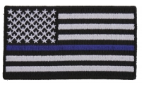 US Flag with Blue Line Emblem
