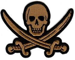 Khaki Pirate Skull with Crossed Swords Emblem