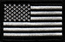Tactical US Flag Black/Silver Patch