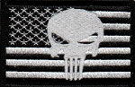 Tactical hook & loop Punisher Skull On Black & White US Flag Patch
