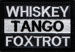 Tactical hook & loop Whiskey Tango Foxtrot Black w/ White Stripe Patch