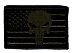 Tactical Punisher Skull Flag Green/Black Patch