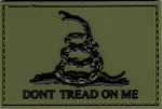 PVC Tactical 3D Gadsden Flag Green/Black Patch