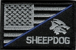 Tactical hook & loop Sheepdog-Blue Line- US Flag Patch
