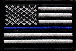 Tactical Thin Blue Line Black & White Flag hook & loop Patch