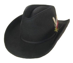 Big Size 3XL U Shape It Western Black Felt Cowboy