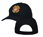 Big US Marines Logo On Black Adjustable Cap