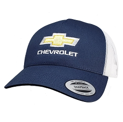 Big Chevy Bowtie on Navy/White Yupoong Mesh Cap