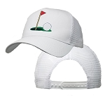 Big Size Golf on the Green White Mesh Cap
