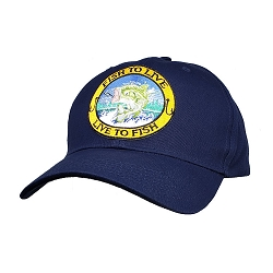 Big Size Live to Fish on Navy Adjustable Cap