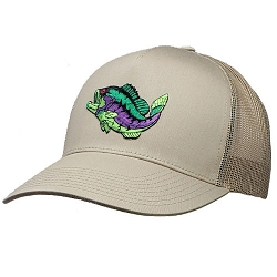 Big Size Fish on Khaki Yupoong Mesh Cap