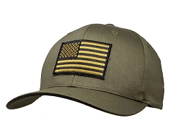 Subdued Green US Flag on 2XL Olive FlexFit Cap
