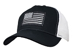 Reflective Black and White US Flag on Big Size Black and White Mesh Cap