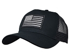 Reflective Black and White US Flag on Black Mesh Cap