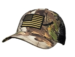 Subdued Green US Flag on Big Vanish Hybrid Pine Mesh Cap
