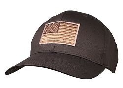 Subdued Brown US Flag on 2XL Brown FlexFit Cap