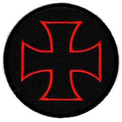 Red Iron Cross Circle Emblem