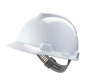 Big Size MSA V-Gard White Hard Hat Staz-On Suspension