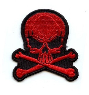 Skull Red Embroidered Emblem