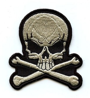 Skull White Embroidered Emblem