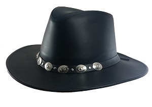 2XL Black Dakota Leather Dude Hat