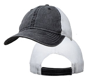 Big Size Vintage Black/White Low Profile Mesh Cap