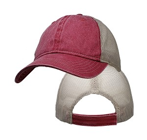 Big Size Vintage Red/Tan Low Profile Mesh Cap