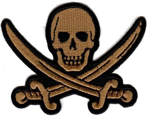 Embroidered Khaki Pirate Skull with Crossed Swords