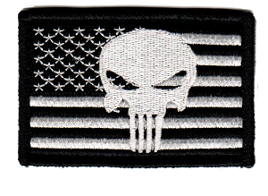 Tactical Punisher Skull Flag Black/White Patch