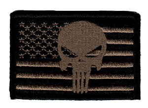 Tactical Punisher Skull Flag Coyote/Black Patch