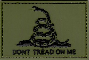 PVC Tactical hook & loop 3D Gadsden Flag Green and Black