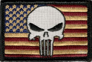 Tactical hook & loop Punisher Skull On Antique US Flag Patch