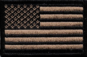 Tactical US Flag Coyote/Black Patch