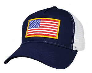 US Flag on Big Navy & White Mesh Cap