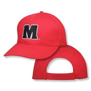 "University Of Maryland ""M"" Cap On Red"