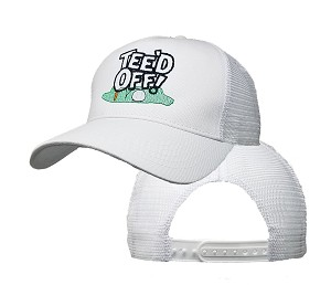 Big Size Tee'd Off Logo on White Mesh Cap