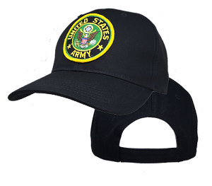 Big US Army Logo On Black Adjustable Cap
